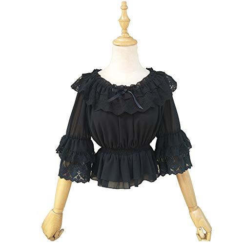 Poofy Sleeve Top - TanQiang Womens Victorian Lolita Chiffon Ruffle Lace Crop Top Summer Half Sleeve Blouse (Black)