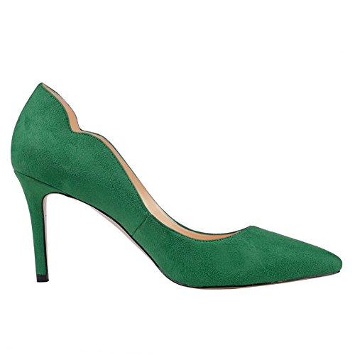 Juin En Amour Bureau De La Femme Basique Slip Sur Les Pompes Stiletto Mi-talon Pointu Orteil Pour Les Chaussures Habillées Quotidiennes Vert-daim