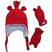 N'Ice Caps Boys Sherpa Lined Micro Fleece Hat and Mitten Set with Ears (3-6 Months, Infant - Red)