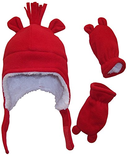 N'Ice Caps Boys Sherpa Lined Micro Fleece Hat and Mitten Set with Ears (3-6 Months, Infant - (Sherpa Lined Flap Hat)