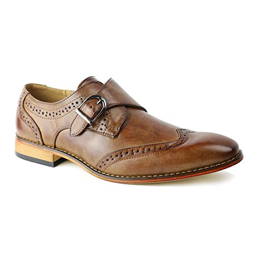 Brown Leather Wingtip - BESTON FR42 Men's Perforate Wingtip Buckle Monk Shoes Oxford, Color:Brown, Size:12