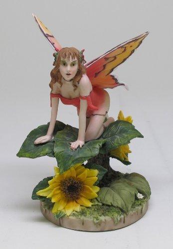 Flowers Statue - PTC 5.5 Inch Sunflower Winged Fairy Sitting on Flowers Statue Figurine