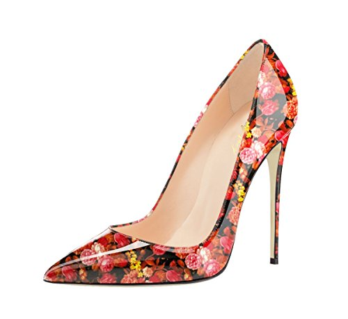 Shoes Slip Pumps Pointed color Floral Toe Pink Graffiti High Women's SexyPrey Multi H On Stilettos Heel Court 80nwOn5q