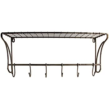 rustic wire wall shelf hanging rack with hooks 23 x 10 x 8 home kitchen. Black Bedroom Furniture Sets. Home Design Ideas