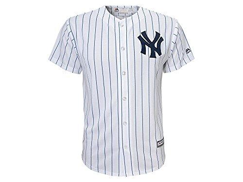 (Majestic Kid's MLB New York Yankees White With Navy Stripes Baseball Jersey (5/6 Medium))