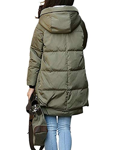 Classic Women's Winter Down Coat Thickened Puffer Parka with Hood Size Large,Large,Green