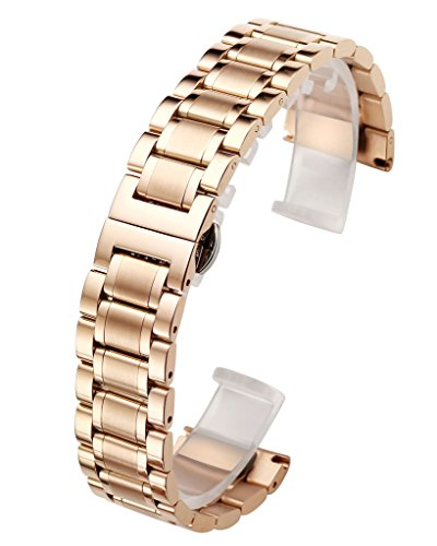 Solid Rose Gold Watch (Top Plaza Rose Gold 20mm Solid Stainless Steel Straight End Link Bracelet Wrist Watch Band Strap Replacement Double Push Spring Butterfly Deployment Clasp 3 Rows Metal Strap)