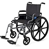 """Medline MDS806560E K4 Extra-Wide Lightweight Wheelchair with Desk Length Arms and Swing Away Footrest, 20"""" Width, 18"""" Depth, 300 lb. Capacity"""