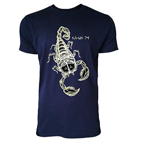 SINUS ART® Gezeichneter Skorpion Herren T-Shirts in Navy Blau Fun Shirt mit tollen Aufdruck