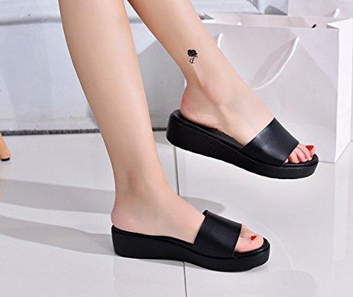 un zapatos Apartamento Zapatillas de elegante 36 de Sandalias simple AJUNR mujer 2 Negro cm playa Transpirable Moda con 40 wAxOH1