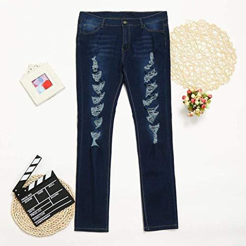 Ajustados Cintura Elásticos De Jeans Blau Delgados Alta Huixin Agujeros Tamaño Lápiz Mezclilla Pantalones Gran Cher Stretch Rasgados q4Hw5