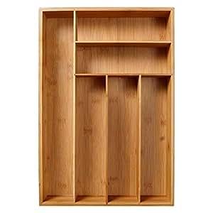 Organizador de cubiertos de bambú con 6 compartimentos ...