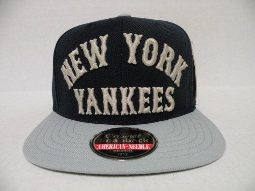 American Needle MLB New York Yankees Name Arched 2 Tone Navy Gray Retro Snapback Cap (Yankees American Needle)
