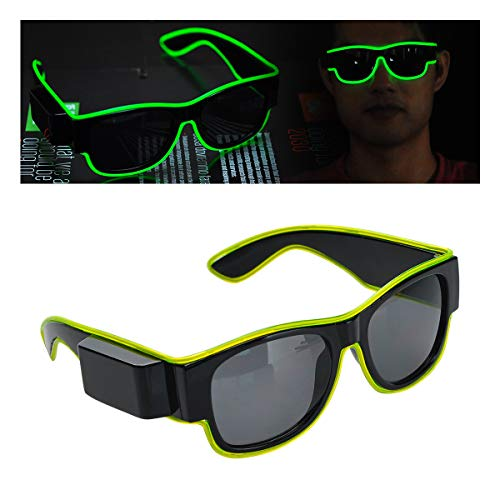 - Glowing Goggles EL Wire Decoration Glasses Halloween Decoration with USB Rechargebattery for Fashionshow Party Cosplay Lights. (Green)