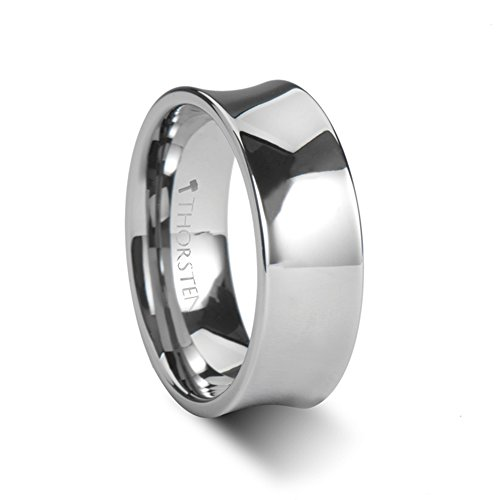 ungsten Carbide Ring with Polish Finish - 8mm (Concave Tungsten Carbide Band Ring)