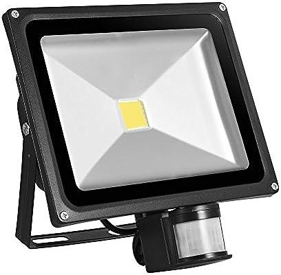 Proyector LED 50W con detector de movimiento 4800lm reflector ...
