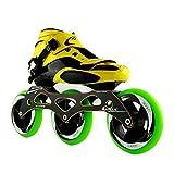NUBAOgy Inline Skates, 90-110 Mm Diameter High Elastic PU Wheels, Adjustable Inline Skates for Children, (Color : Green, Size : 33)