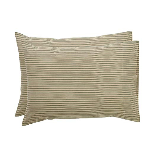 VHC Brands Farmhouse Bedding Prairie Winds Ticking Stripe Tan Pillow Case Set of 2, (Renewed)