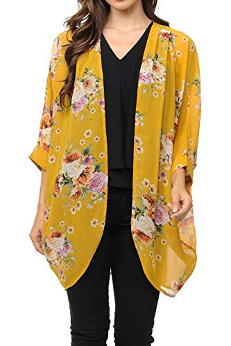 Auliné Collection Womens USA Made Casual Cover Up Cape Gown Robe Cardigan Kimono SLFBW1 English Rose FL Must L