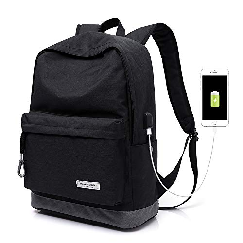 KAKA Street Casual Travel Latpot Backpack,Stylish Classic Backpack With USB Interface, College High School Student Backpack For Boys,Girls,Teens,Women And Men(2199 BLACK) by KAKA