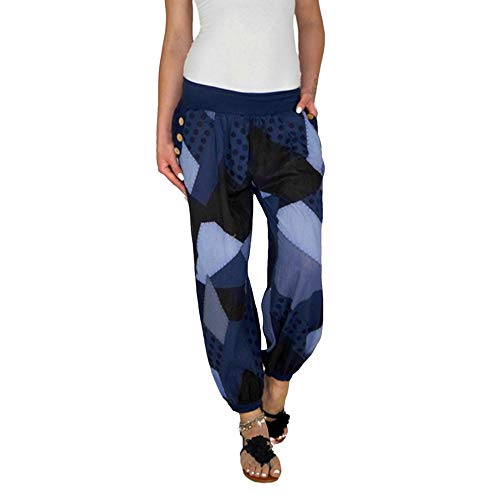 ANJUNIE Women Long Pants Casual Style High Waist Casual Style Sports Yoga Trouser Pants(3-Navy,L)