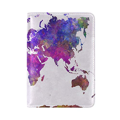 ALAZA Abstract World Map Leather Passport Holder Cover Case Travel One Pocket