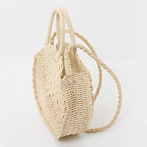 COOFIT Beach Straw Bags, Round Straw Bag Pompom Shoulder Bag Beach Summer Woven ()