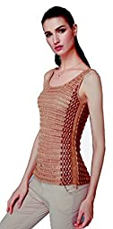 Top knit, pointelle pattern with chain at sides, tape cotton