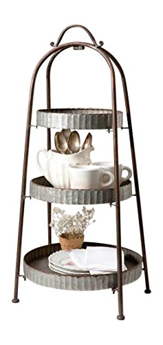 Galvanized Steel  Industrial Round Display Stand 3 Tier]()