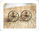yi sheng Octopus Cufflinks,Personalized Cuff Links, Beach Accessories,Pure Handmade。