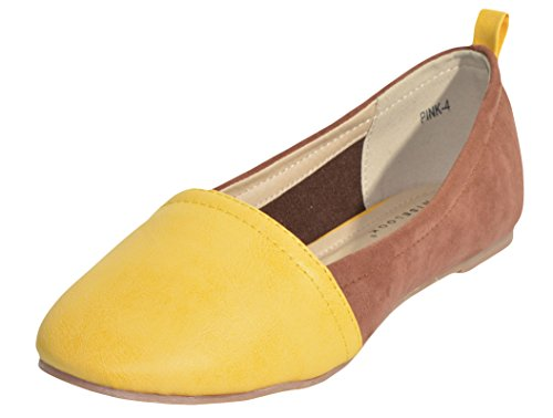 Niselook Colorblock Scamosciato E Pelle Slip-on Flat Marrone Giallo