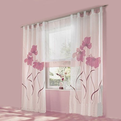 Uphome 1-Pair Romantic Home Decor Tab Top Flower Voile Sheer