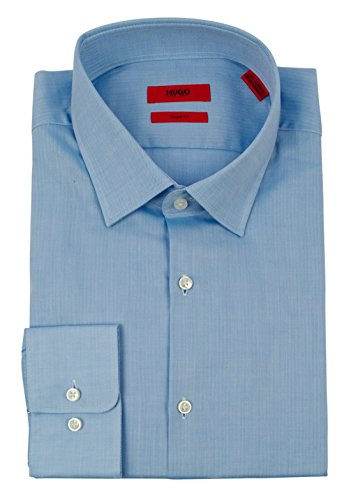 Hugo Boss Men's Red Label C-Mabel Sharp Fit Solid Cotton Dress Shirt-B-17-32/33 Blue