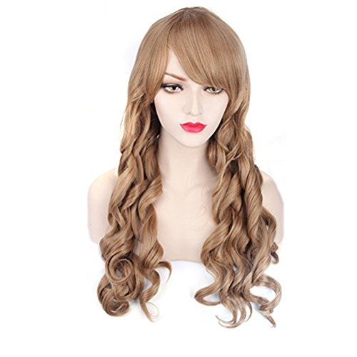 Yesui Cosplay Wigs Long Curly Wave Party Wig with Bang Synthetic Heat Resistant Hairs for Women(Light Brown)