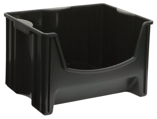 Jumbo Stacking Bin (United Solutions SB0015 Black Plastic Stacking/Nesting Storage Bin - Large Stackable Plastic Organizing Box in Black)