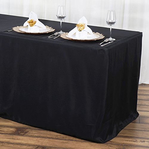LinenTablecloth 6 ft. Fitted Polyester Tablecloth Black from LinenTablecloth