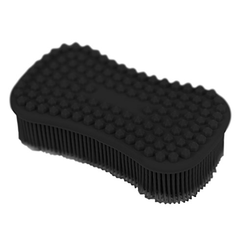 ELFRhino Bath Sponge 2 in 1 Silicone Shower Brush Natural Bristle Massager Brush Gentle Scrub Skin Exfoliation For Face and Body Massage Nubs Improve Cellulite Black ()