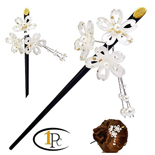 Geisha Pearl Hair Stick with Acrylic Cherry Blossom Cluster and Tassel (Goldenwhite)