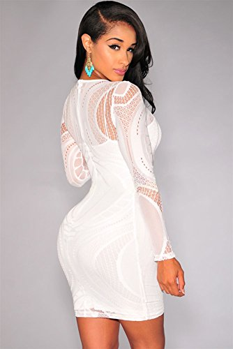 Blanc dentelle Nude Illusion robe Bodycon à manches longues Club Wear Taille/S 8–10