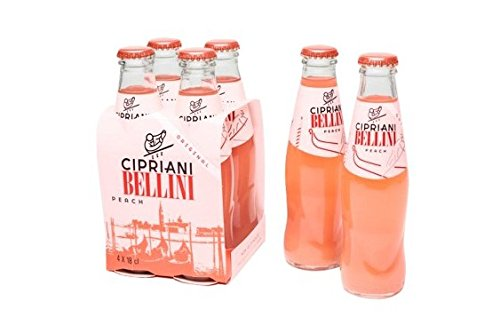 Cipriani Food Peach Bellini Mix, 4 - 6.09 oz. Glass Bottles per Pack (2 Packs)