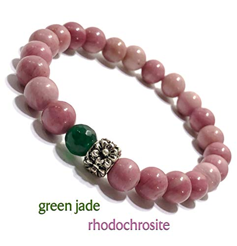 KarmaArm Love Bracelet | Compassion: Rhodochrosite | Green Jade | Floral Bead | Chakra Yoga Jewelry | Reiki Healing Energy Meditation Jewelry | Beaded Stretch Bracelets (6)