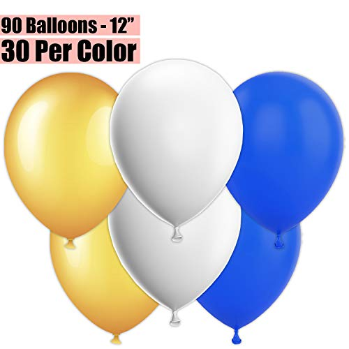 12 Inch Party Balloons, 90 Count - Metallic Gold + White + Royal Blue - 30 Per Color. Helium Quality Bulk Latex Balloons In 3 Assorted Colors - For Birthdays, Holidays, Celebrations, and More!! -