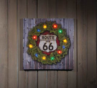 Route 66 Wreath Illuminated Canvas - Route 66 canvas wall art decorations