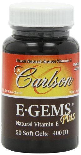 Carlson Labs E-Gems Plus Natural Vitamin E, 400 IU, 50 Softgels