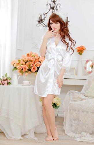 MEISHINE® Mujer Ropa de Dormir Satén Mujer Pijama Bata Camisón Vestido Kimono con Cinturón + G-String Blanco