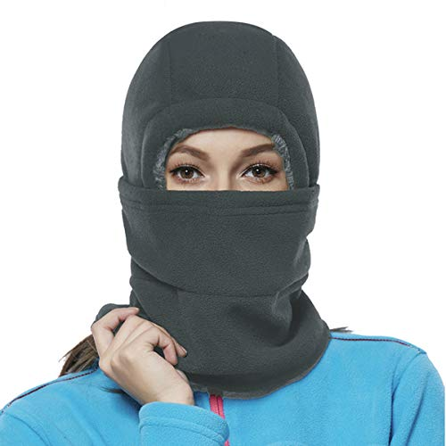 (Balaclava Fleece Hood for Women Kids Thick Ski Face Mask Cold Weather Winter Warmer Windproof Adjustable Neck Protective Cycling Running Gray)