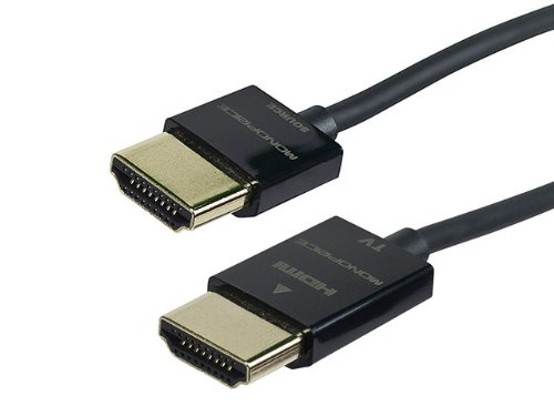 Monoprice Ultra Slim Series 15ft 10.2Gbps High Performance HDMI Cable w/ RedMere Technology Supports Ethernet, 3D, 4K and Audio Return - Black