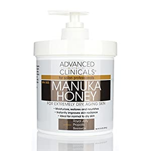 Advanced Clinicals Manuka Honey Cream for Extremely Dry, Aging Skin – For Face, Neck, Hands, and Body. Spa Size 16oz.