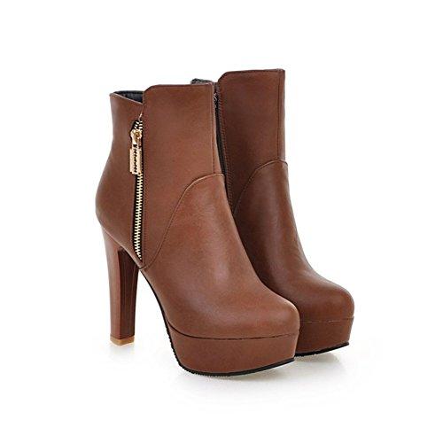 gorge Scothen Combat Mariage Bottes Brown Hauts De Cheville Chaussures Stiletto Femme À Soutien Talons wPwrpRH