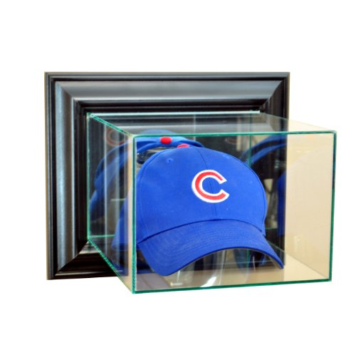 Cases Display Hat Mlb (MLB Wall Mounted Cap / Hat Glass Display Case, Black)